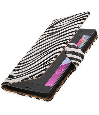 Zebra booktype cover voor Hoesje voor Sony Xperia X Performance