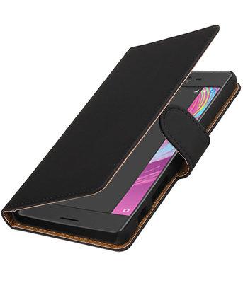 Zwart Effen booktype cover voor Hoesje voor Sony Xperia X Performance
