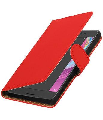 Rood Effen booktype cover voor Hoesje voor Sony Xperia X Performance