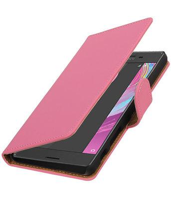 Roze Effen booktype cover voor Hoesje voor Sony Xperia X Performance