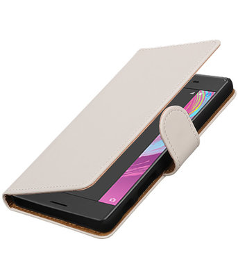 Wit Effen booktype cover hoesje voor Sony Xperia X Performance