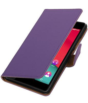 Paars Effen booktype wallet cover voor Hoesje voor Wiko Pulp 4G
