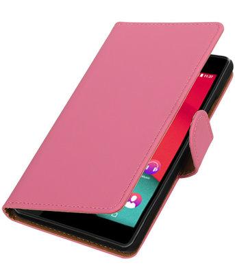 Roze Effen booktype wallet cover voor Hoesje voor Wiko Pulp 4G