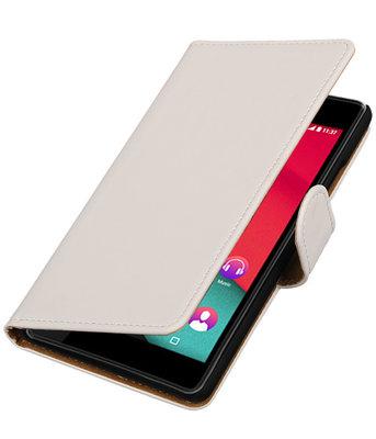 Wit Effen booktype wallet cover voor Hoesje voor Wiko Pulp 4G