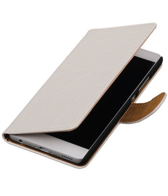 Wit Krokodil booktype wallet cover hoesje voor Sony Xperia E C1605