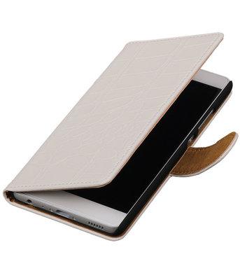 Wit Krokodil booktype wallet cover voor Hoesje voor Sony Xperia SP