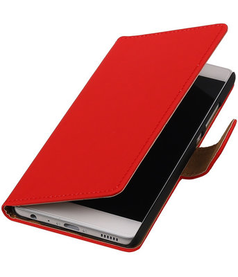 Rood Effen booktype wallet cover hoesje voor Sony Xperia neo L