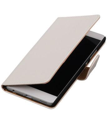 Wit Effen booktype wallet cover hoesje voor Sony Xperia ZL