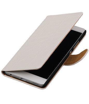 Wit Krokodil booktype wallet cover voor Hoesje voor LG Optimus F5