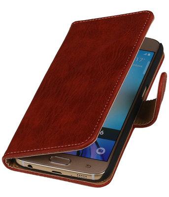 Rood Houtξbooktype wallet cover hoesje voor HTC Desire 510