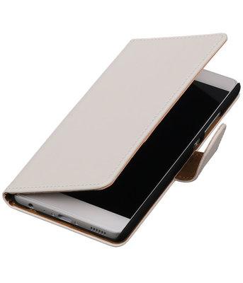 Wit Effen booktype wallet cover hoesje voor HTC One X