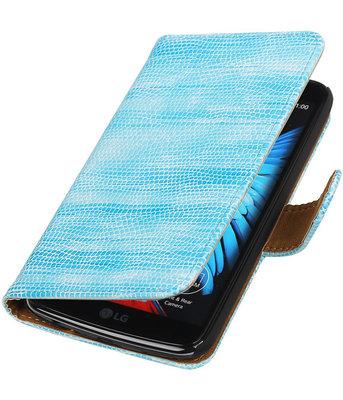 Turquoise Mini Slang booktype wallet cover voor Hoesje voor LG K10