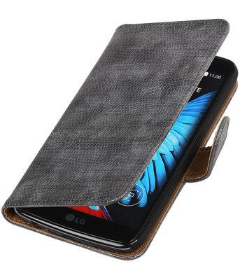 Grijs Mini Slang booktype wallet cover voor Hoesje voor LG K8