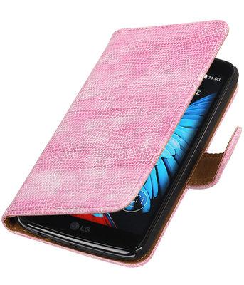 Roze Mini Slang booktype wallet cover voor Hoesje voor LG K8