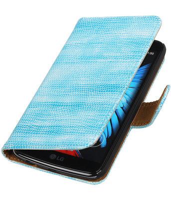 Turquoise Mini Slang booktype wallet cover voor Hoesje voor LG K8
