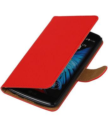 Rood Effen booktype wallet cover voor Hoesje voor LG K8