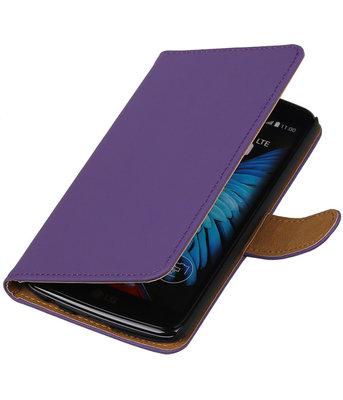 Paars Effen booktype wallet cover voor Hoesje voor LG K8