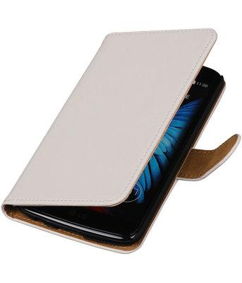Wit Effen booktype wallet cover voor Hoesje voor LG K8