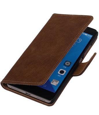 Huawei Honor 7 Bark Hout Bookstyle Wallet Hoesje Bruin