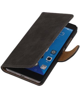 Huawei Honor 7 Bark Hout Bookstyle Wallet Hoesje Grijs