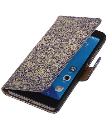 Hoesje voor Huawei Honor 7 Lace Kant Bookstyle Wallet Blauw