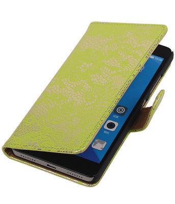 Huawei Honor 7 Lace Kant Bookstyle Wallet Hoesje Groen