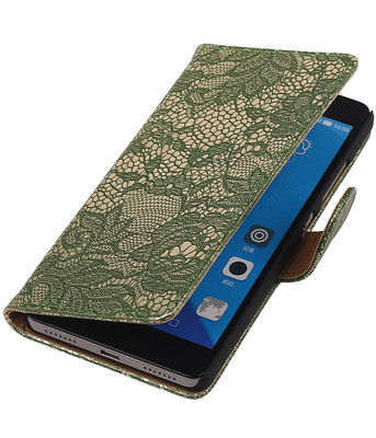 Huawei Honor 7 Lace Kant Bookstyle Wallet Hoesje Donker Groen