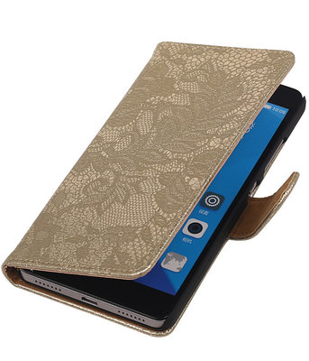 Hoesje voor Huawei Honor 7 Lace Kant Bookstyle Wallet Goud