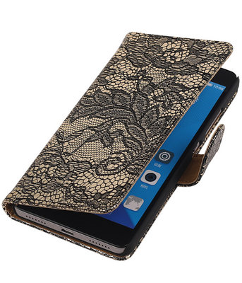 Huawei Honor 7 Lace Kant Bookstyle Wallet Hoesje Zwart