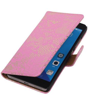 Hoesje voor Huawei Honor 7 Lace Kant Bookstyle Wallet Roze