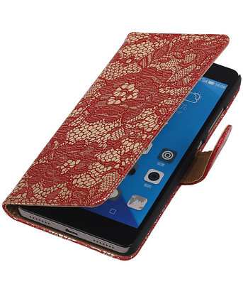 Hoesje voor Huawei Honor 7 Lace Kant Bookstyle Wallet Rood