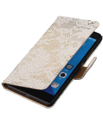 Hoesje voor Huawei Honor 7 Lace Kant Bookstyle Wallet Wit