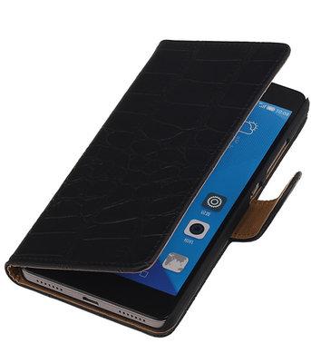 Hoesje voor Huawei Honor 7 Croco Bookstyle Wallet Zwart