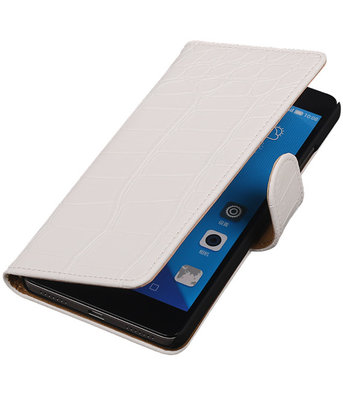 Hoesje voor Huawei Honor 7 Croco Bookstyle Wallet Wit