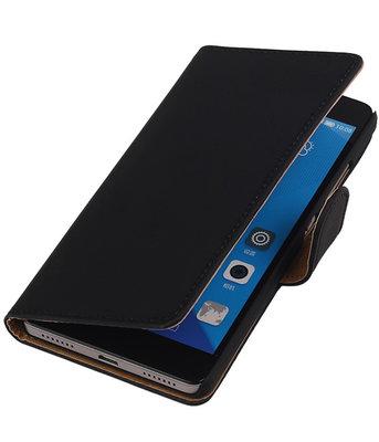 Huawei Honor 7 Effen Bookstyle Wallet Hoesje Zwart