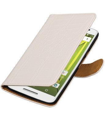 Wit Krokodil booktype wallet cover voor Hoesje voor Motorola Moto X Play