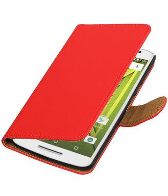 Rood Effen booktype wallet cover voor Hoesje voor Motorola Moto X Play