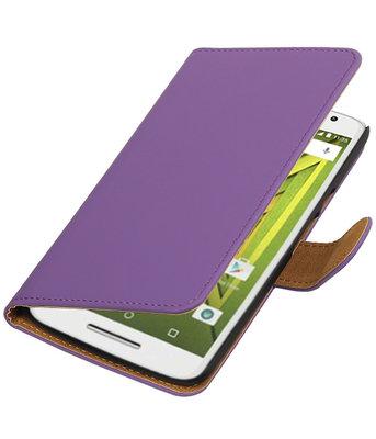 Paars Effen booktype wallet cover voor Hoesje voor Motorola Moto X Play