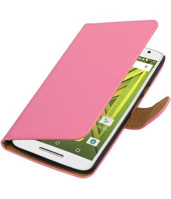 Roze Effen booktype wallet cover voor Hoesje voor Motorola Moto X Play