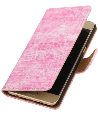 Roze Mini Slang booktype wallet cover hoesje voor Samsung Galaxy C5