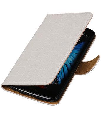 Wit Krokodil booktype wallet cover voor Hoesje voor LG K8