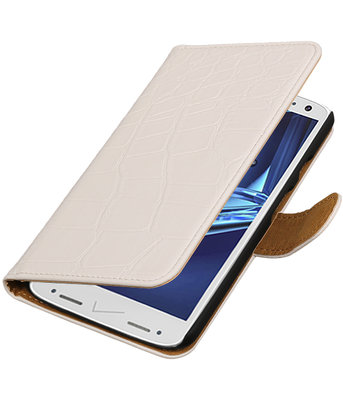 Wit Krokodil booktype wallet cover voor Hoesje voor Motorola Droid Turbo 2