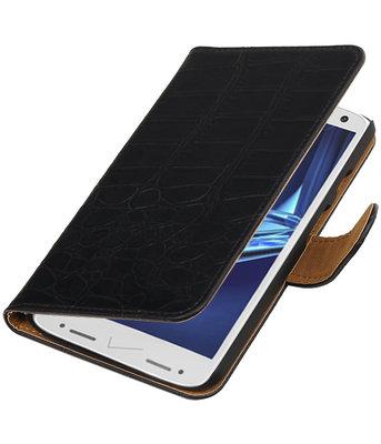 Zwart Krokodil booktype wallet cover voor Hoesje voor Motorola Droid Turbo 2
