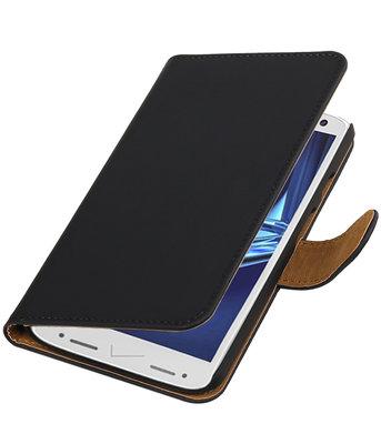 Zwart Effen booktype wallet cover voor Hoesje voor Motorola Droid Turbo 2