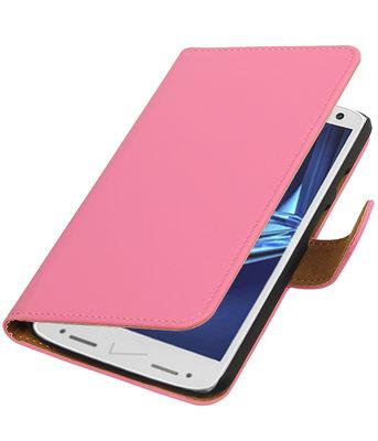 Roze Effen booktype wallet cover voor Hoesje voor Motorola Droid Turbo 2