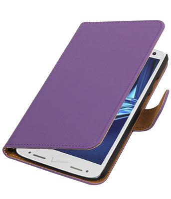 Paars Effen booktype wallet cover voor Hoesje voor Motorola Droid Turbo 2
