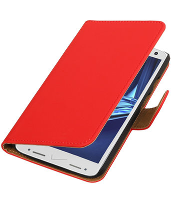 Rood Effen booktype wallet cover voor Hoesje voor Motorola Droid Turbo 2