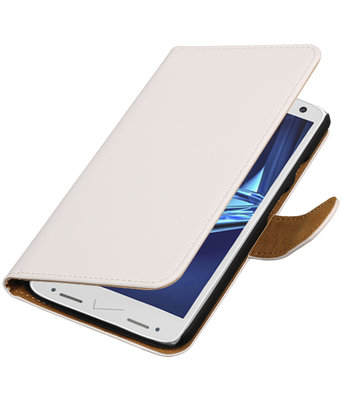 Wit Effen booktype wallet cover voor Hoesje voor Motorola Droid Turbo 2