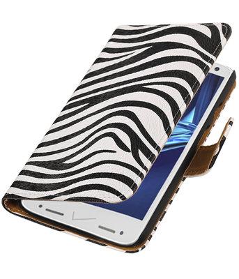 Zebra booktype wallet cover voor Hoesje voor Motorola Droid Turbo 2
