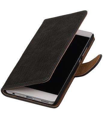 Grijs Hout booktype wallet cover voor Hoesje voor Huawei P9 Plus